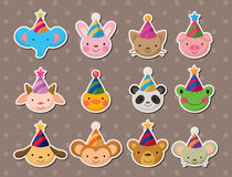 Party animal face stickers Royalty Free Stock Photography