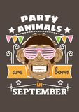 Party Animals are Born in September. Birthday greeting present as t-shirt, card or poster with illustrated, line style ribbon graphics text Royalty Free Stock Images