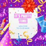 Party Announcement Invitation Festive Colorful Template. Club party announcement invitation colorful poster card template with confetti and festive decorations Stock Image