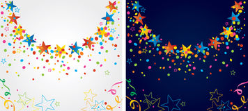 Party around the big wheel. Background with many colorful stars and confetti around a circular area Stock Photos