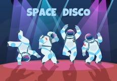 Party astronauts. Retro dancing spaceman, disco entertainment poster with pop art cosmonaut. Vector cartoon vintage vector illustration