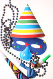 Party attributes. Mask and other atributes for having a party Royalty Free Stock Photos