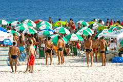 Party auf dem Ipanema Strand, Brasilien Stockfoto