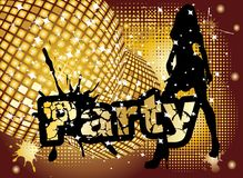 Party background. With big disco ball and woman silhouette dancing,  illustration Stock Photography