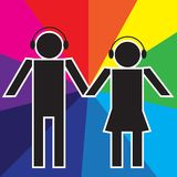 Party Background. Simple Silhouettes of Couple With Headphones / Vector vector illustration