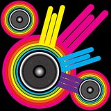 Party Background. Retro Music Background - Color Shapes and Speakers on Black Background / Vector stock illustration