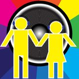 Party Background. Couple With Headphones in front of Speaker / Vector Royalty Free Stock Photos