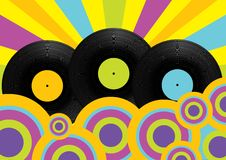 Party Background. Vinage Vinyl Records on Retro Wallpaper / Vector royalty free illustration