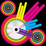 Party Background. CD and Loudspeakers on Retro Background / Vector stock illustration