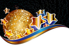 Party background. With golden disco ball,  eps10 illustration Stock Image
