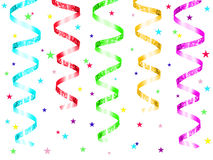 Party background. Hanging colorful party streamers with confetti on a white background Royalty Free Stock Photo