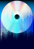 Party Background. Graphic Equalizer and CD Compact Disc on Blue Background / Vector stock illustration