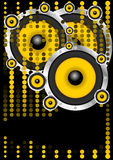 Party Background. Loudspeakers and Dots on Black Background - vector Royalty Free Stock Photo