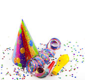 Party new year background on white. Happy new  year background with  serpentines confetti and hat Royalty Free Stock Photography