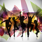 Party background. Silhouettes of people dancing on an abstract background vector illustration
