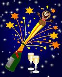 Party background. A colorful party background with an illustrated cork exploding from a champagne bottle with champagne glasses and many stars nearby Royalty Free Stock Photography