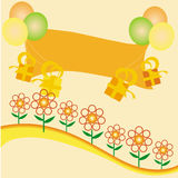 Party background. With balloons presents flowers and a banner to write on Stock Photography