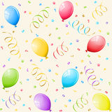 Party background with balloons. Seamless background with confetti, streamalloon Stock Image