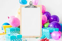 Party Background Balloons Empty Sheet Paper Celebration Decoration Gift