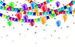 Party Background with balloons and Flags Vector, Colored confetti and festoons on the white background.  Royalty Free Stock Photos