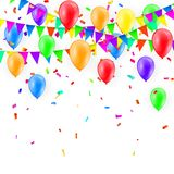 Party Background with balloons and Flags Vector, Colored confetti and festoons on the white background.  Stock Image