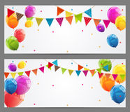Party Background Baner with Flags and Balloons Vector Illustrati. On. EPS10 Stock Photography