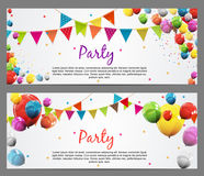 Party Background Baner with Flags and Balloons Vector Illustration Stock Images