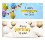 Party Background Baner with Flags and Balloons Vector Illustration. EPS10 Royalty Free Stock Images