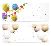 Party Background Baner with Flags and Balloons Vector Illustration. EPS10 Royalty Free Stock Photo