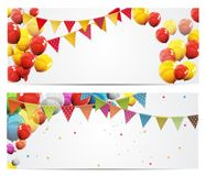 Party Background Baner with Flags and Balloons Vector Illustration. EPS10 Stock Photography