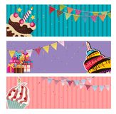 Party Background Baner with Flags and Cakes Vector Illustration. EPS10 Royalty Free Stock Image