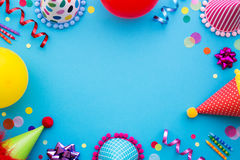 Party background. Birthday party background with party hats and streamers Stock Photography