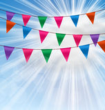 Party Background with Buntings Flags Garlands Stock Images