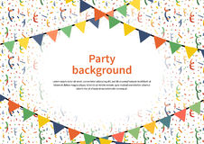 Party background with buntings garlands and confetti Stock Photos