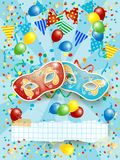 Party background with carnival masks, banner, balloons and festo. On. Vector illustration eps10 Royalty Free Stock Photography