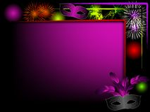 Party background. With carnival masks and fireworks Royalty Free Stock Photo