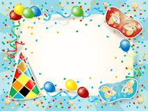 Party background with carnival masks, hat, balloon and copy space Royalty Free Stock Photography