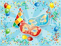 Party background with carnival masks, hat, balloons, streamers a Stock Photo