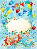 Party background with carnival masks, label, balloon and festoon. Vector illustration eps10 Stock Photos