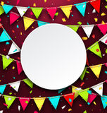 Party Background with Clean Card, Colorful Bunting and Confetti Stock Image