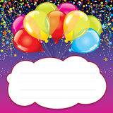 Party Background with Colorful Balloons. Bright Party Background with Colorful Balloons, Confetti and Serpentine. Vector Design Greeting Card Royalty Free Stock Photography