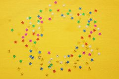 Party background with colorful confetti. Top view. Party background with colorful confetti. Top view royalty free stock photography