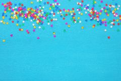 Party background with colorful confetti. Top view. Party background with colorful confetti. Top view royalty free stock photo