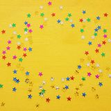 Party background with colorful confetti. Top view. Party background with colorful confetti. Top view stock photos