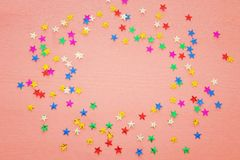 Party background with colorful confetti. Top view. Party background with colorful confetti. Top view stock images