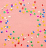 Party background with colorful confetti. Top view. Party background with colorful confetti. Top view stock photography