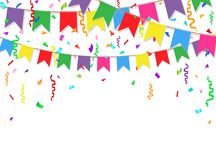 Party background with colorful flags and confetti. Party flags on white background. Vector illustration.  Royalty Free Stock Photo