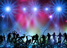 Party background with dancing people. Easy all editable Stock Image