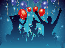 Party background with dancing people silhouette. Vector illustration Royalty Free Stock Photography