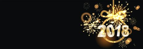 Happy New Year background  with firework. Party background with firework and clock Royalty Free Stock Photography